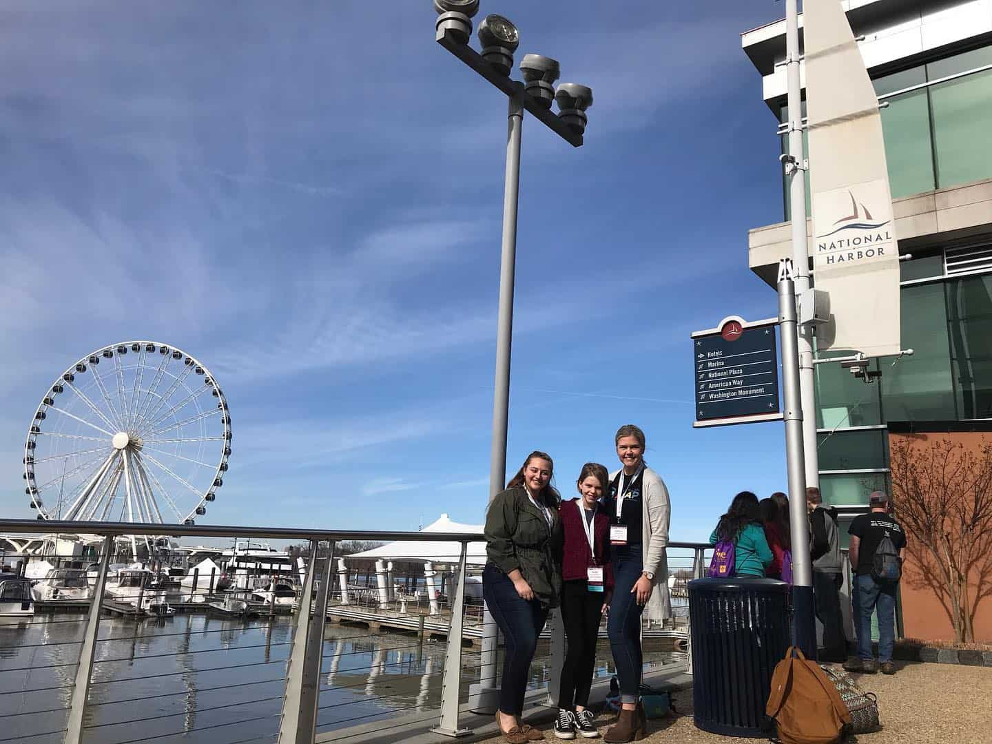 Mohr, Beckmann, and ASAP Coordinator, Elle Mark, in front of The Capital Wheel in National Harbor, MD.