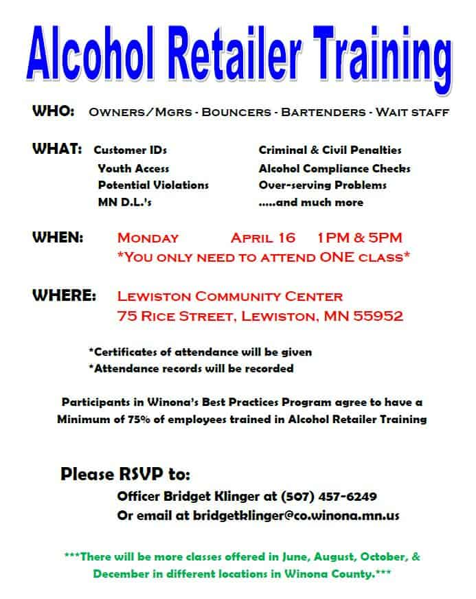 Responsible, Beverage, Server, Training, RBST, Winona, Police, Department, ART, Bridget, Klinger